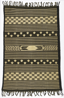 Dark brown cloth, fringed on both warp ends, with bands of supplementary weft patterning in yellow rayon. Bands of horizontal stripes, checkerboard pattern, and small huts, with a crocodile in the center.