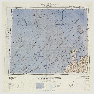 "Printed rayon handkerchief with maps of Sendai and Kanazawa, Japan, with currents and winds indicated. Face A:  ""A. A. F. CLOTH CHART/SENDAI""; face B: ""A. A. F. CLOTH CHART/KANAZAWA"""