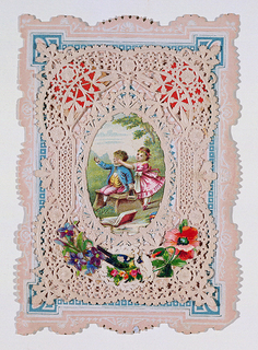 "An oval chromolithograph of a girl surprising a boy with a paper frame of gilt, embossed paper.  Inside, inscribed on blue paper is:  ""Had I thy wings, oh dove,/High midst the clouds to soar,/ Soon would the strongest cords of love/ Bring me to earth once more."""