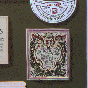 "Fragment of a pattern of wine and liquor labels in brilliant colors on green ground. On margin: ""Schumacher Hand Print"". On reverse is printed manufacturer's name and identification of paper."
