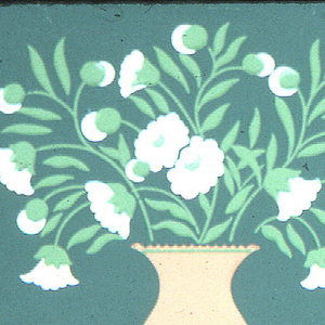 """Diagonal pattern of white flowers in orange vases and circles filled with stylized flowers and leaves. Inspired by a stencil pattern. Printed in margin: """"Thibaut, New York, Design of Today, No. 701, Made in U.S.A., New Boston."""""""