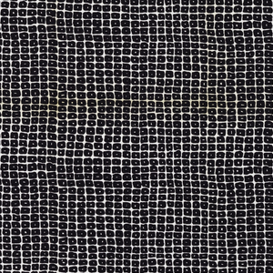 Length of printed linen with a grid of irregular black squares with irregular white dots in the center, on a white ground.