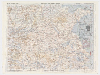 An Army Air Force map from World War II, printed in blue, dark blue, green, red, tan and black on white.