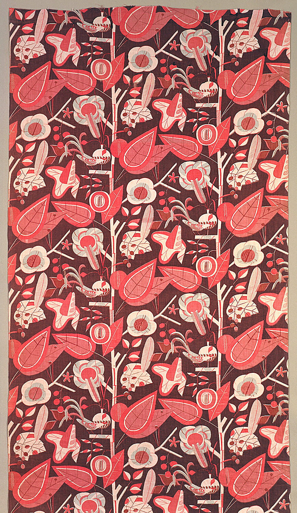 Length of printed linen with a large-scale, highly stylized design of flowering trees and birds, in reserved off-white, bright and dull pink and pale gray on a brown background.