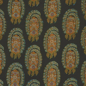 Glazed chintz with offset columns of Persian cone shapes made up of delicate flowers and leaves; polychrome on very dark blue ground.