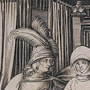 View of the interior of a bedroom with a canopied bed on a dais under which is visible a chamber pot and slippers. At left, the door latch is secured closed with a knife. Upon the bed, a young man wearing a plumed hat and a mantle wraps his arm around the woman seated beside him. The woman is holding a large ring of keys in her lap. Inscribed on margin below in center: I.M.