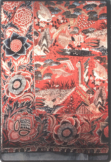 Half of a chintz palampore with scenic and floral elements in blue, green, drab, yellow and rose on a strong red ground. The piece has a deep border sewn by hand along the left and bottom edges. The designs of the field and border are related in color but are otherwise very different.  The field shows a repeating pattern of three sceninc elements: Under a gnarled tree with flattened leaves appear two cranes, one perched on a pointed rock, one standing in a dark shallow pool. A second scene shows a bird (heron?) crouched on a nest, in or near a pool or swamp of triangular shape, in which delicate plants and smaller herons are visible. From the air a bird swoops toward this pool. A third scene is not easily decipherable, a barred triangle shape, from which rise dotted oblongs, a long stem, ending in a lotus fruit, but looking more like a lantern on a pole. These different scenes are divided by blocks of little birds and flower clusters.  Although the design is crowded, the several elements have considerable delicacy. Japanese influence is apparent, particularly in the drawing of the trees and birds. The border consists of a series of large flower heads, one a lotus, and big notched green leaves; reserved decoration in the flowers enriches the design. The bottom edge has a narrow outer border of carnations, artichokes and serrated leaves on a white ground.