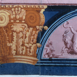 a) Frieze: bandings, top to bottom: 1) pink and purple acanthus leaves; 2) pink row of balls; 3) yellow, orange, purple wave and feather/foliage pattern; 4 & 5) narrow geometric pink and purple bandings forming architrave for gold and yellow Ionic and Corinthian capitals with elaborate acanthos. Below architrave: half-round vignettes, three amorini, two with staffs, one with horn riding goat. b) Purple and pink column, fluted, with black bands and leaf decoration. Deep blue acanthus border.