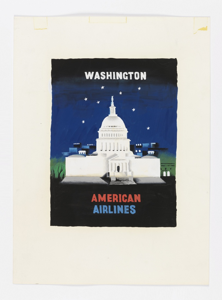 Design for an American Airlines poster featuring Washington D.C., USA. View of U. S. Capitol building at night. In white text, upper center: WASHINGTON; in red and blue, lower center: AMERICAN / AIRLINES.