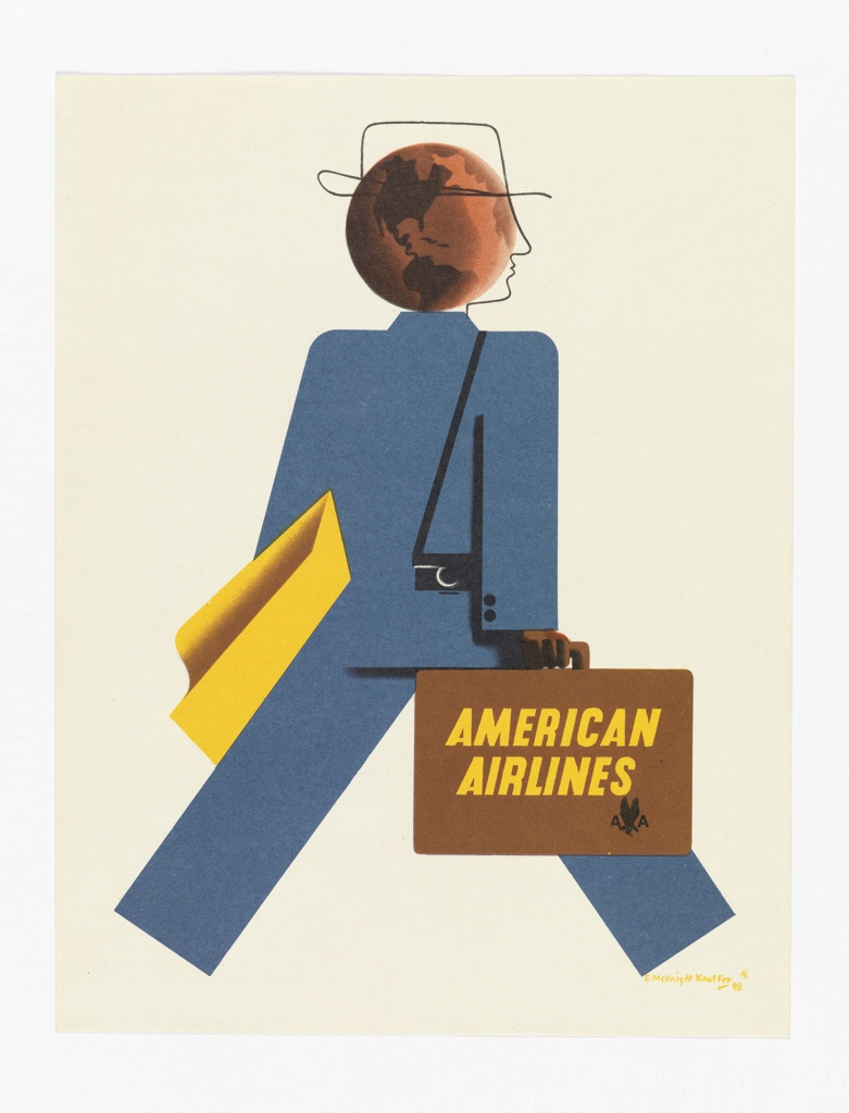 Advertising reduction encouraging travel via American Airlines. Figure of a striding business person shown from behind, wearing a blue suit. The figure's head is represented by the outline of a stylized, linear profile superimposed on a brown globe. The figure carries a yellow garment, a black camera, and a brown briefcase emblazoned with yellow text: AMERICAN / AIRLINES [American Airlines logo in black].