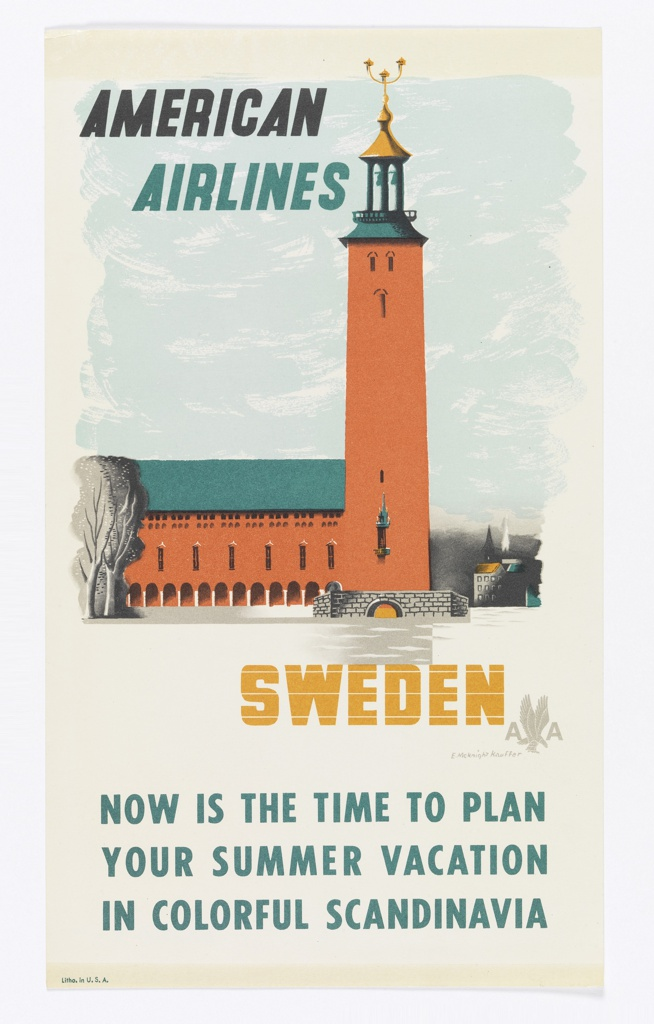 Advertising reduction for American Airlines advertising Sweden. View of Stockholm's City Hall building as seen from Riddarfjärden Bay, with a small stone bridge in foreground and cityscape in background to the right. In black and teal text, upper left: AMERICAN / AIRLINES; in gold, lower right: SWEDEN [American Airlines logo in gray]. At bottom in teal text: NOW IS THE TIME TO PLAN / YOUR SUMMER VACATION / IN COLORFUL SCANDINAVIA.