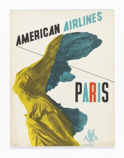 Advertising reduction encouraging travel to Paris via American Airlines. Photoillustration in yellow and turquoise of the Winged Victory of Samothrace from the Louvre collection.Text in black and turquoise, upper center: AMERICAN AIRLINES; center right, multicolored text: PARIS. [American Airlines logo in light blue], lower right.
