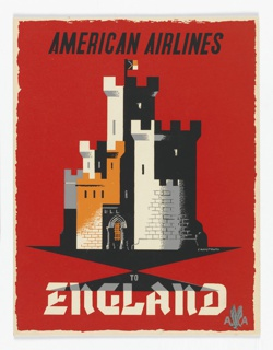 Advertising reduction for American Airlines advertising England. Crenellated castle towers and fortifications in white, black, and gold on red ground. In black text, upper center: AMERICAN AIRLINES; in white serif text, lower center: TO / ENGLAND [American Airlines logo in gray].