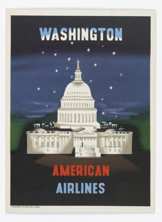 On a black ground, night sky, the U. S. State Capitol. Above, in blue and white: WASHINGTON; below, in red and blue: AMERICAN AIRLINES [AA logo].