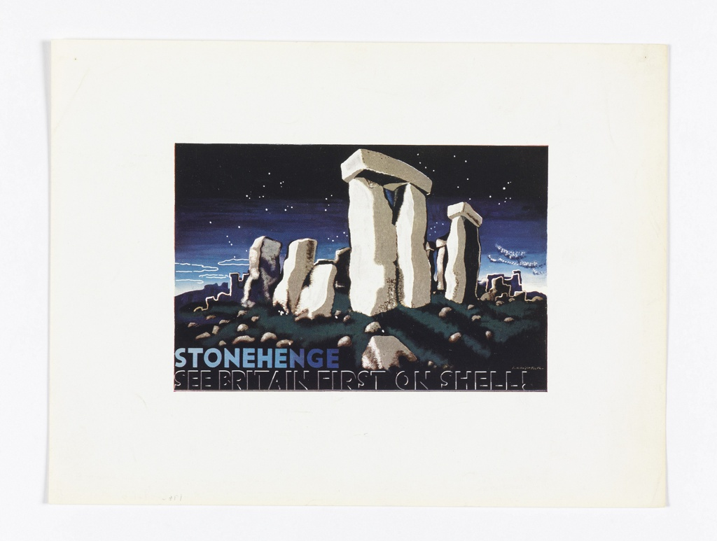 Advertising reduction of Stonehenge poster design for Shell-Mex and BP Ltd. View of Stonehenge at night, with stars in the sky and a rocky foreground. Text in blue and white, lower left: STONEHENGE; below in black text outlined in beige: SEE BRITAIN FIRST ON SHELL!