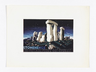 View of Stonehenge at night, with stars in the sky and rocky foreground. Lower left, text in blue and white: STONEHENGE / SEE BRITAIN FIRST ON SHELL!