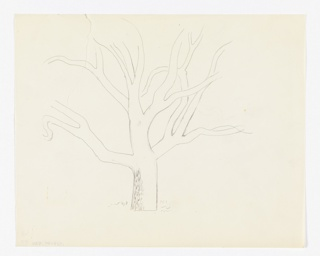 "Study for ""The New Forest, See Britain First on Winter Shell"" poster. Drawing of a bare tree in outline with several branches."