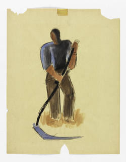 Large male figure wearing blue shirt and brown pants using a scythe.