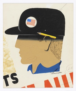 "Study for a ""Labor Supports"" poster or advertisement. At center, large head in profile with no facial features, wearing a black cap with an American flag badge pinned to it, and a blue collared shirt (only the collar is depicted). A pencil is tucked behind the figure's ear. Below, cropped text in black: TS. Graphite markings throughout."