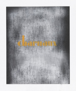 Design for the catalogue cover for Charnaux's products. Across center, in mustard yellow text: charnaux. Text is set against a white gridded pattern ground on the black paper.