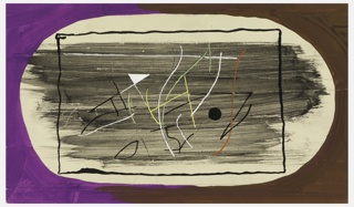 Study of an abstract composition. At center, framed by a black rectangular frame, white, green, yellow, red, and black curved and straight lines, intersecting one another upon a ground formed by horizontal black brush strokes. Edges of the page are shaded in half purple, and half brown, creating an oval space at center for the central composition.