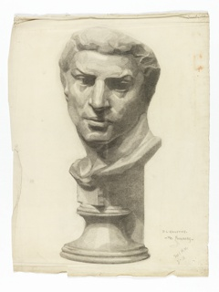 Image of a bust of a man on pedestal turning head proper left.