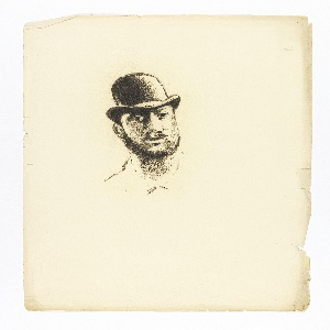 Image of a man's head wearing bowler hat.
