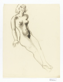 Study of nude woman, semi reclined.