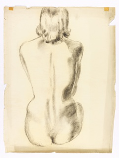 Study of nude seated woman, back view.