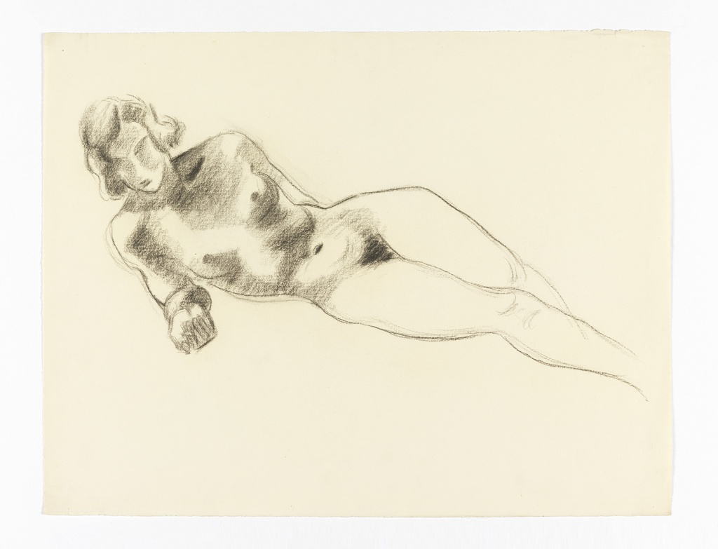 Study of nude woman, reclined.