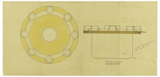 Circular body with hanging reeded rim indicated in yellow pastel drawn in plan and elevation.  Rim is fitted with 8 circular pipe holders indicated in white pastel to be executed in ivory centering a circular lid with finial indicated in white pastel to be executed in ivory.  Underdrawing in graphite of humidor in golden section.