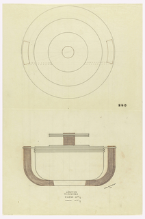 "Round body drawn in plan and elevation raised on a circular base with two attached upward curved handles indicated in red color pencil and graphite which continue through the wide protruding rim. Stepped lid surmounted by a cylindrical finial indicated in red color pencil and graphite that protrudes through two circular discs. Upper rim of body decorated with two applied bands. Underdrawing in graphite of vegetable dish in golden section. Puiforcat collection contains archival photograph of vegetable dihs, Box 9, Folder 13, ""Serving Dishes,"" # 230. Puiforcat fabrication #: 230."