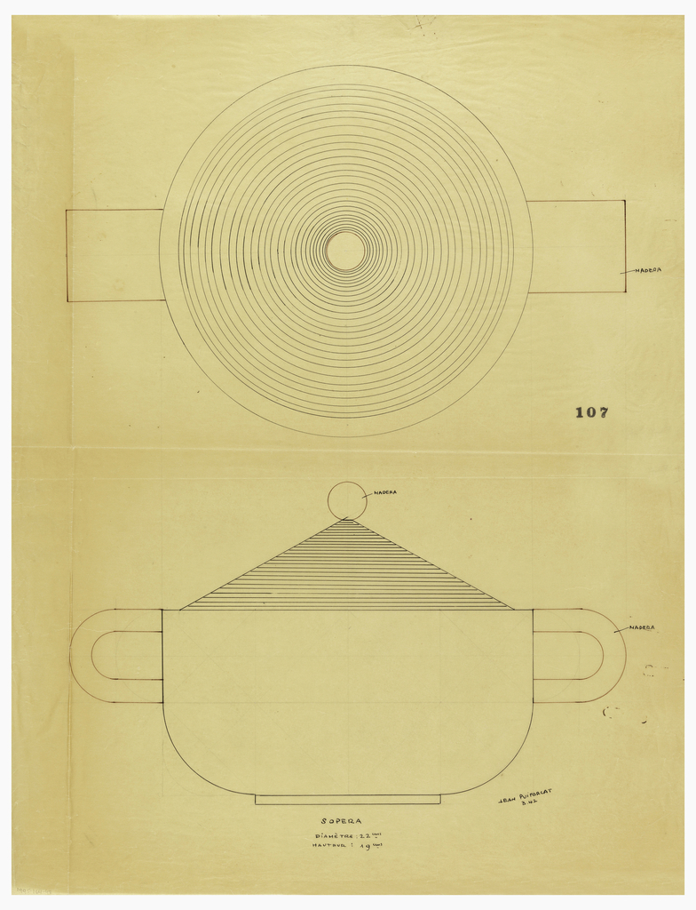 Circular tureen drawn in plan and elevation flanked by U-shaped handles indicated in brown ink to be executed in wood.  The conical lid decorated with incised concentric circles, surmounted by a ball finial indicated in brown ink to be executed in wood, raised in a short circular foot. Underdrawing in graphite of tureen in golden section. Puiforcat fabrication #: 107