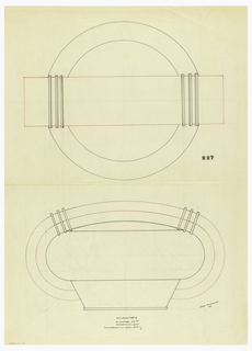 Circular centerpiece drawn in plan and elevation encircled by a thick handle indicated in red ink decorated at the top by pairs of applied triple bands connecting the handle to the body. Raised on a trapezoidal-shaped base ending in a circular foot. Underdrawing in graphite of centerpiece in golden section. Puiforcat fabrication #: 227