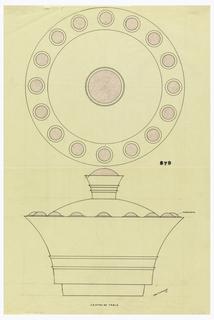 Circular flared centerpiece drawn in plan and elevation, the protruding lip decorated with cabachom amethysts sitting on circular discs indicated in violet color pencil. Rounded lid surmounted by a falred, cylindrical finial with two applied flaring bands mounted by a cabochon amethyst indicated in violet color pencil. Lower body decorated with two applied flared bands and raised on a circular foot. Underdrawing in graphite of centerpiece in golden section. Puiforcat fabrication #: 379