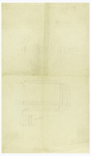Circular hot water kettle with shaped spout drawn in plan and elevation. Rounded lip surmounted by a circular finial. Decorated around the lower body with four applied bands which continue onto the oval handle which is scalloped on the inner and outer sides. Raised on a flared circular foot above the outline of a stand. Underdrawing in graphite. On verso at upper left (upside down), a small graphite drawing of a teapot.