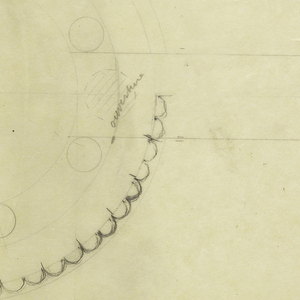 Cylindrical kettle with flared spout drawn in plan and elevation surmounted by a circular lid surrounded by six balls continuing into a C-shaped handle. The back half of the body with applied vertical bands. Raised on a similarly decorated base and three rectangular feet. Small drawing of screw holding foot into base. Small drawing of contour of body to right of drawing. Underdrawing in graphite.