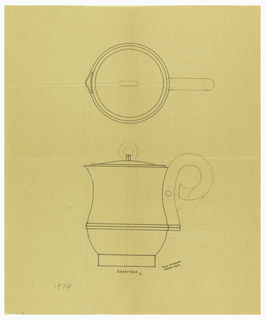 Pear-shaped coffeepot drawn in plan and elevation with tapering neck, flared rim and spout. Lid surmounted by a ring finial attached by two applied bands. Scroll handle in brown ink with central screw indicated by a circle. Lower body decorated with two applied bands extending to one side to form a base for the handle. Raised on a short circular foot. Underdrawing in graphite of coffeepot in golden section. Puiforcat Fabrication #:
