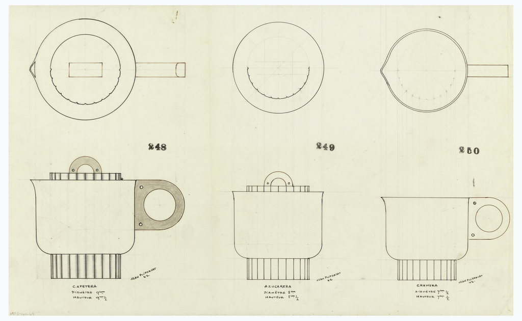 At left a circular coffeepot with flared spout drawn in plan and elevation, the circular scalloped lid surmounted by an arched finial and flanked by ring handle, both indicated in brown ink and brown pastel, each with two screws indicated by circles, raised on a tall circular scalloped base. Underdrawing in graphite of coffeepot in golden section. At center, a circular sugar bowl drawn in plan and elevation, the circular scallopwd lid surmounted by and arched finial drawn in brown ink and brown pastel, with two screws indicated by circles, raised on a tall circular scalloped base. Underdrawing in graphite of creamer in golden section. At right, circular creamer with flared spout handle indicated in brown ink and brown  pastel, with two screws indicated by circles. Raised on a tall circular scalloped base. Underdrawing in graphite of creamer in golden section.