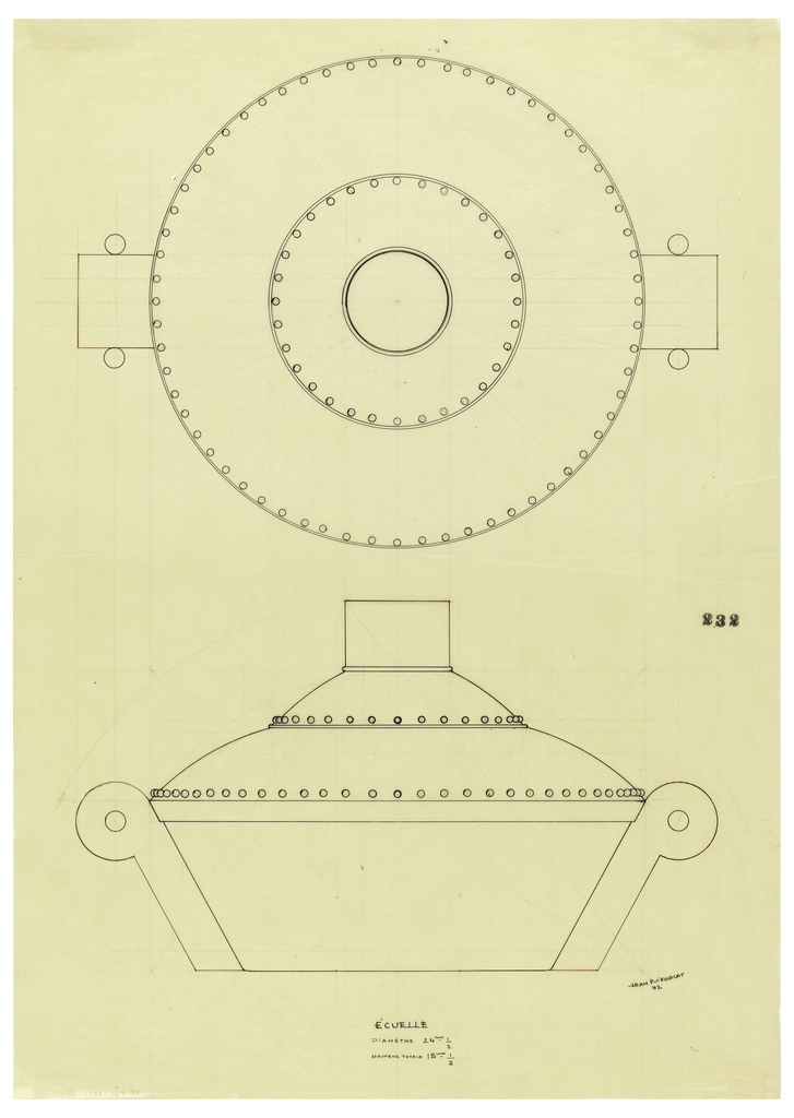 "Round flaring bowl drawn in plan and elevation flanked along the sides with scroll handles indicated in brown ink centering a bead in both sides. Stepped domed lid with beaded decoration around lower edge of each section surmounted by a cylindrical finial indicated in brown/balck ink. Underdrawing in graphite of bowl in golden section. Puiforcat collection contains an archival photograph of the bowl, Box 7, Folder 12 (""centerpiece circular""), #232. Puiforcat fabrication #: 232."