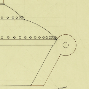 """Round flaring bowl drawn in plan and elevation flanked along the sides with scroll handles indicated in brown ink centering a bead in both sides. Stepped domed lid with beaded decoration around lower edge of each section surmounted by a cylindrical finial indicated in brown/balck ink. Underdrawing in graphite of bowl in golden section. Puiforcat collection contains an archival photograph of the bowl, Box 7, Folder 12 (""""centerpiece circular""""), #232. Puiforcat fabrication #: 232."""