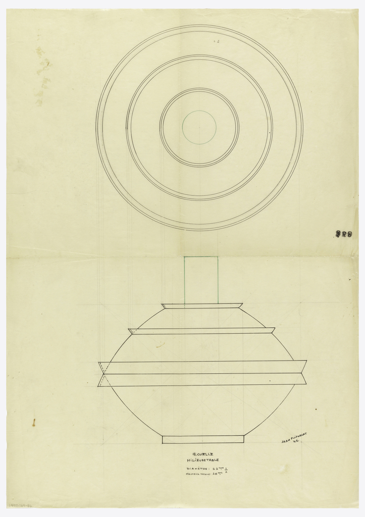 """Flaring bowl drawn in plan and elevation, lid composed of two bands flaring in opposite directions; domed lid with applied flared bands surmounted by a tall cylindrical finial indicated in green ink. Underdrawing in graphite of bowl in golden section. Puiforcat collection contains an archival photograph of the bowl, unnumbered, Box 7, Folder 12, (""""centerpiece""""). Puiforcat fabrication #: 31891, Ecuelle milieu de table Jean Puiforcat 42."""
