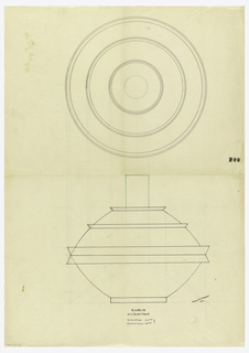 "Flaring bowl drawn in plan and elevation, lid composed of two bands flaring in opposite directions; domed lid with applied flared bands surmounted by a tall cylindrical finial indicated in green ink. Underdrawing in graphite of bowl in golden section. Puiforcat collection contains an archival photograph of the bowl, unnumbered, Box 7, Folder 12, (""centerpiece""). Puiforcat fabrication #: 31891, Ecuelle milieu de table Jean Puiforcat 42."