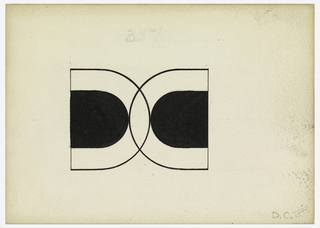 "Monogram comprised at overlapping ""D"" and ""C"" both a similar half-ellipses form drawn in black outline, each with a solid half-ellipse within. On verso, a Canson and Montgolfier label. Puiforcat fabrication #:"