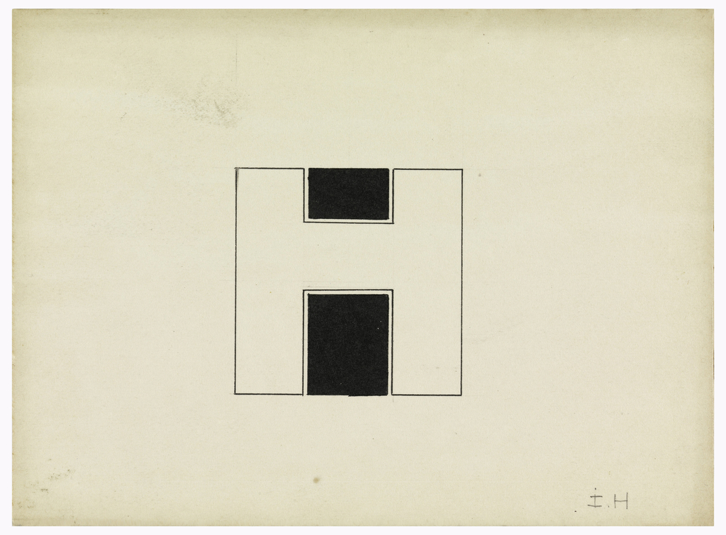 "Square monogram comprised of an ""H"" in black ink outline superimposed upon a black ""I"" behind the cross-bar of the ""H"". Puiforcat fabrication #:"