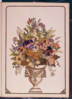 Album of pressed flower pictures.  Large quarto, title page and fifteen others of scenes and still-life arrangements composed of pressed flowers and leaves; backgrounds of scenes painted in watercolors.  Scenes framed in embossed gold paper.  Title on spine.