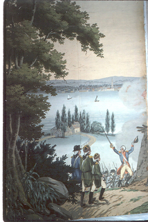 "The background of ""Scenic America"" is used for scenes of the American Revolution. The taking of an English redout on the hills of Weehawken by American Militia and volunters, assisted by French troops. Across the bay is New York City. Strips 1 and 2 from a set of 32."