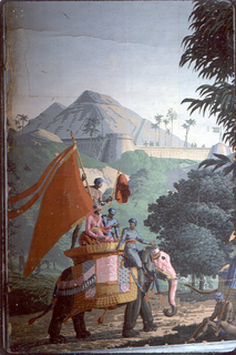 A caparisoned elephant on the back of which ride a personnage and servants,one of whom grasps a large banner with streamers. Two strips of a set of 20.
