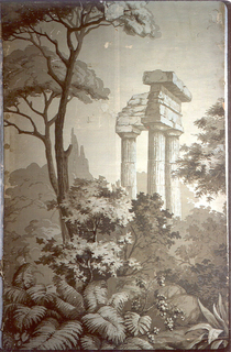 A circular temple with columns, in the midst of trees. Printed in sepia.