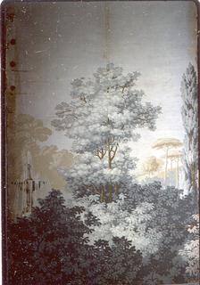 Leafy foliage with, at left, a playing fountain. Tree in the center. Printed in grisaille and brown.